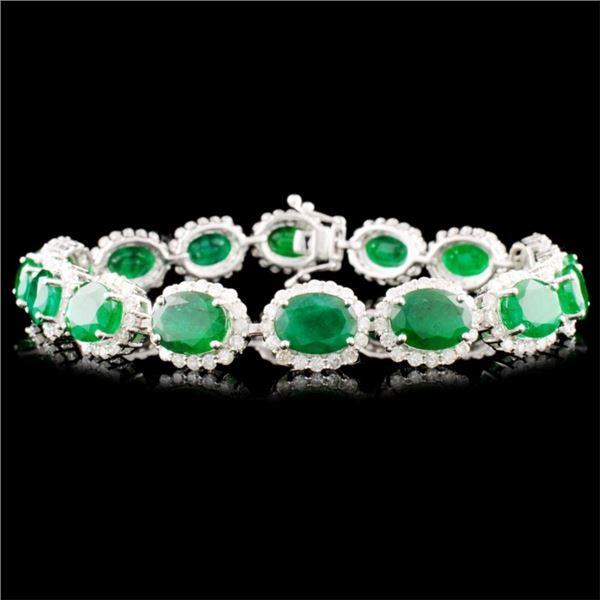 14K Gold 17.53ct Emerald & 3.60ct Diamond Bracelet