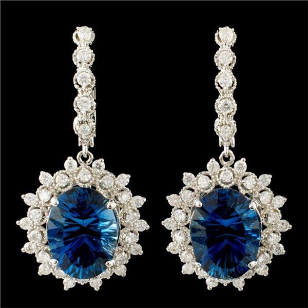 14K Gold 14.01ct Topaz & 1.86ctw Diamond Earrings
