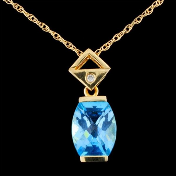 14K Gold 2.41ct Topaz & 0.02ct Diamond Pendant