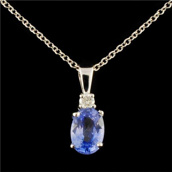 14K Gold 1.00ct Sapphire & 0.06ctw Diamond Pendant