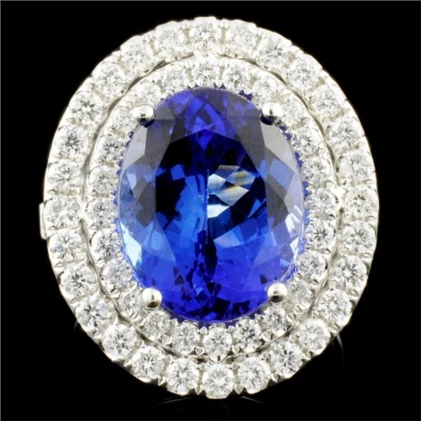 18K Gold 6.31ct Tanzanite & 1.26ctw Diamond Ring