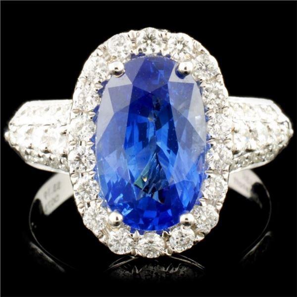 18K Gold 3.19ct Sapphire & 0.73ctw Diamond Ring