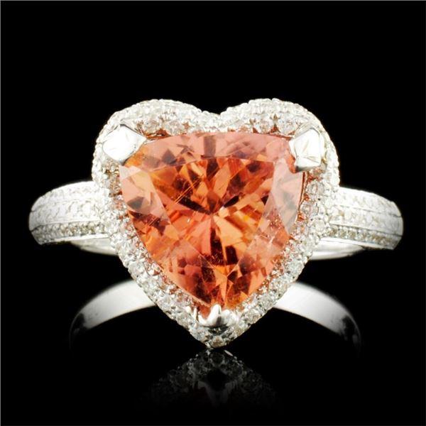 18K Gold 3.36ct Tourmaline & 1.28ctw Diamond Ring