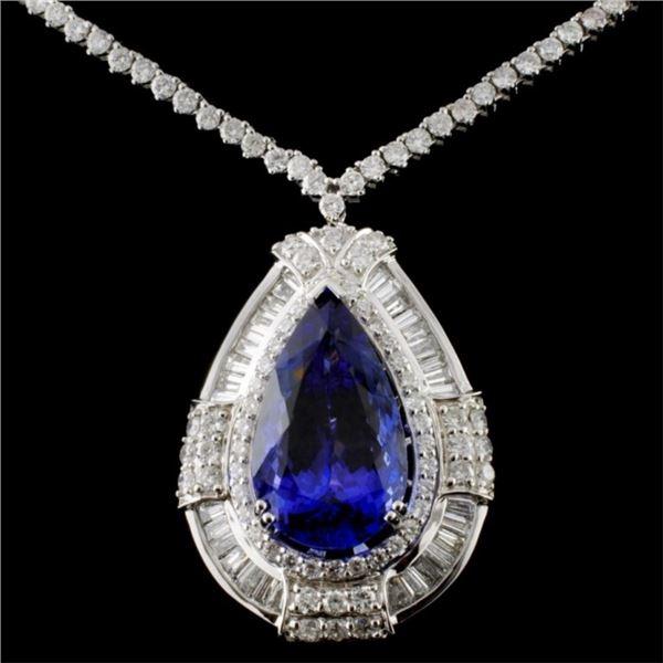 18K White Gold 9.76ct Tanzanite & 5.09ct Diamond N
