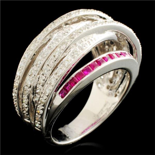 18K Gold 0.90ct Ruby & 0.70ctw Diamond Ring