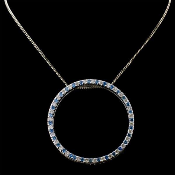 18K White Gold 0.92ctw Fancy Color Diamond Pendant