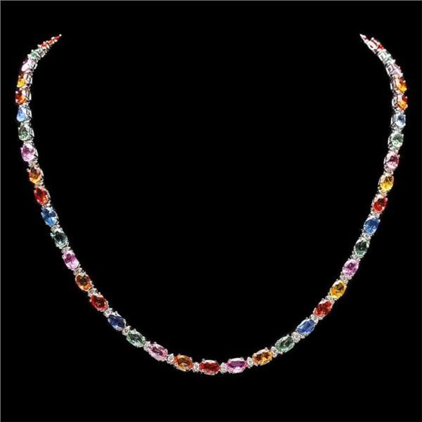 `14k Gold 27.00ct Sapphire & 1.25ct Diamond Neckla