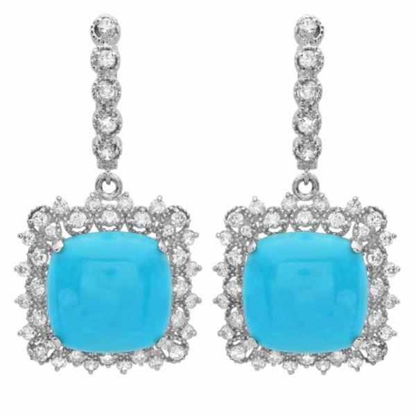 14K Gold 14.50ct Turquoise & 1.50ct Diamond Earrin