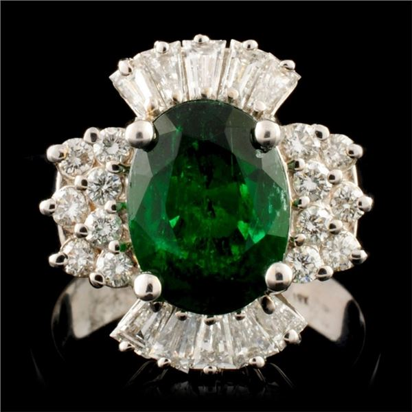 18K Gold 3.10ct Emerald & 0.86ctw Diamond Ring