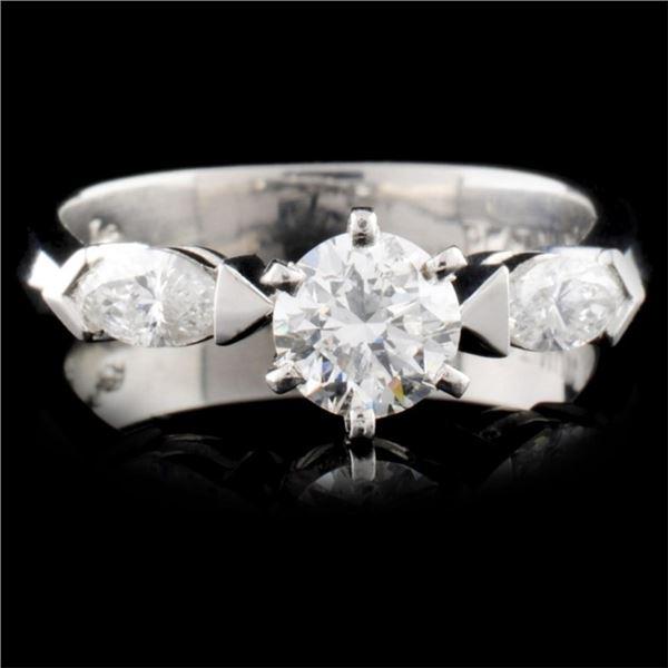 Solid Platinum 0.86ctw Diamond Ring