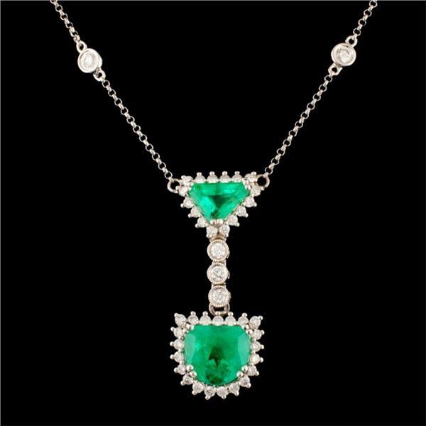 18K Gold 3.03ct Emerald & 1.50ctw Diamond Necklace