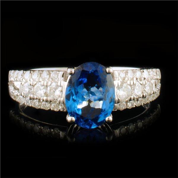 14k White Gold 1.15ct Sapphire & 0.42ctw Diamond R