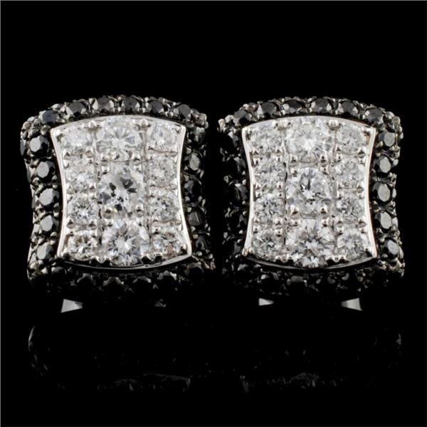 14K White Gold 1.36ctw Fancy Color Diamond Earring