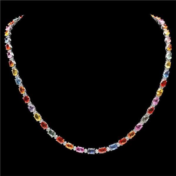 14k Gold 28.00ct Sapphire & 1.50ct Diamond Neckla