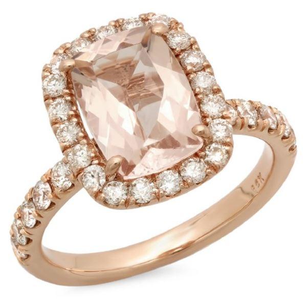 14K Gold 2.00ct Morganite & 0.75ct Diamond Ring