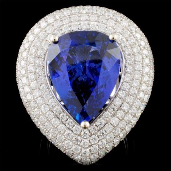 18K White Gold 12.77ct Tanzanite & 3.79ctw Diamond
