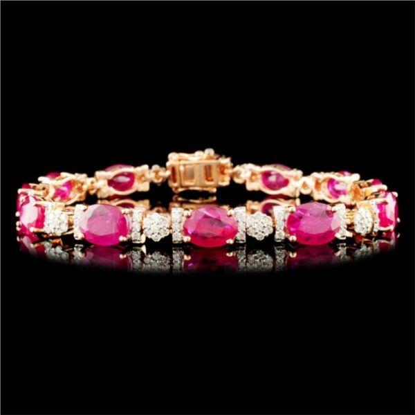 14K Gold 16.39ct Ruby & 1.39ctw Diamond Bracelet