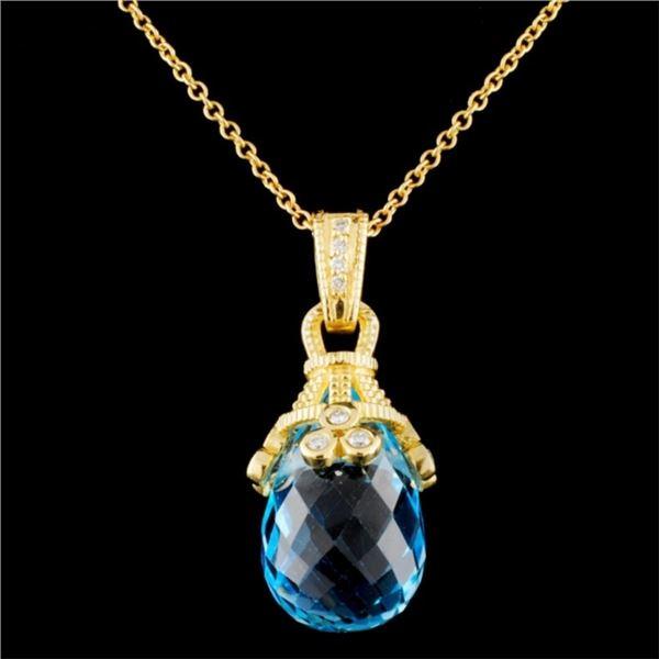 18K Gold 21.62ct Topaz & 0.24ctw Diamond Pendant