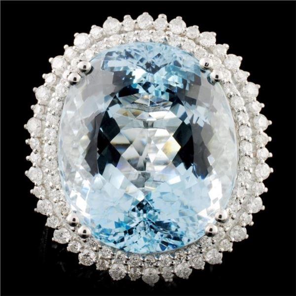18K Gold 25.02ct Aquamarine & 1.24ctw Diamond Ring