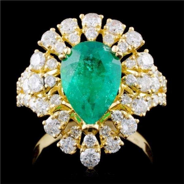 18K Y Gold 2.12ct Emerald & 1.68ct Diamond Ring