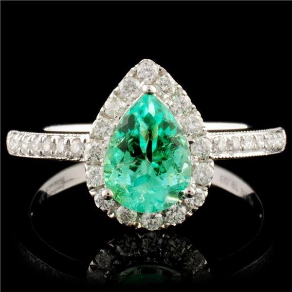 14K Gold 0.97ct Emerald & 0.29ctw Diamond Ring