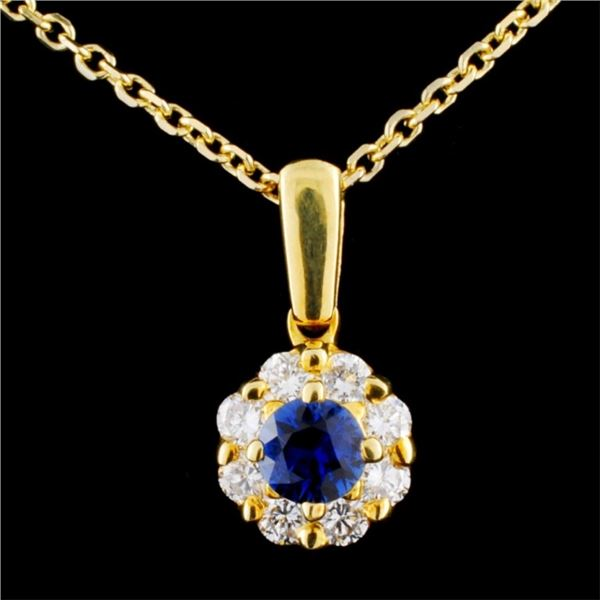 18K Gold 0.38ct Sapphire & 0.45ctw Diamond Pendant