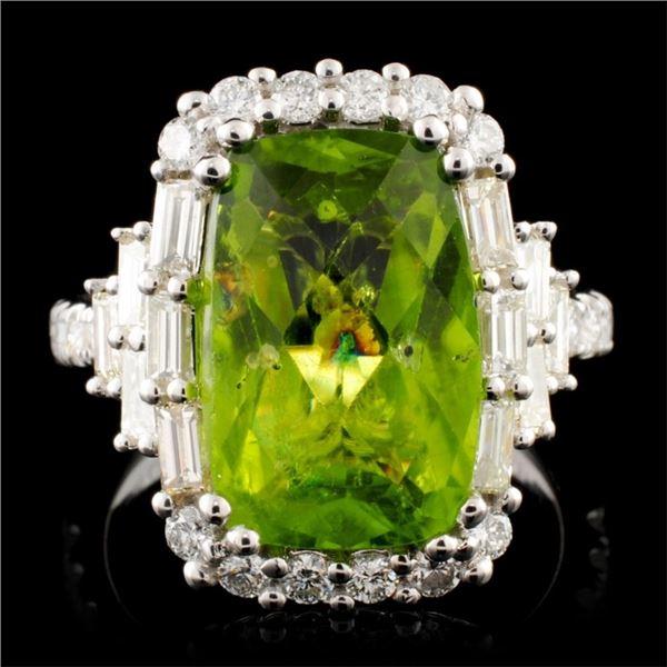18K Gold 6.55ct Peridot & 1.29ctw Diamond Ring