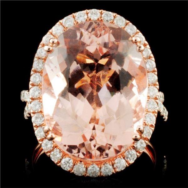 18K Rose Gold 11.21ct Morganite & 0.91ct Diamond R