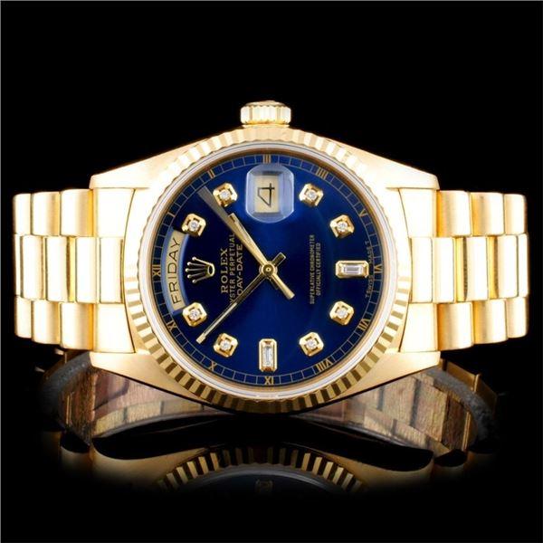 Rolex 18K YG Day-Date Men's Diamond Watch