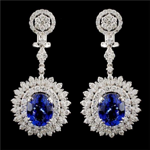 18K Gold 7.50ctw Tanzanite & 4.58ctw Diamond Earri