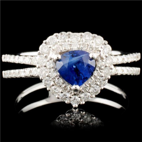 18K Gold 0.66ct Sapphire & 0.45ctw Diamond Ring