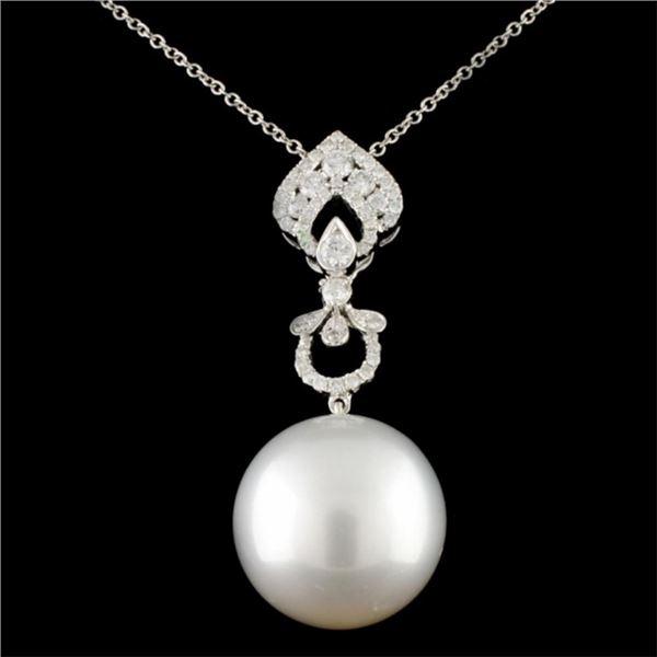 18K Gold 15.00mm Pearl & 0.42ctw Diamond Pendant