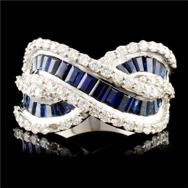 18K Gold 3.12ctw Sapphire & 1.12ctw Diamond Ring
