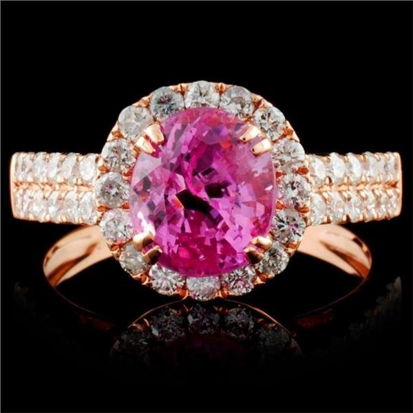 18K Rose Gold 2.29ct Spinel & 0.76ct Diamond Ring