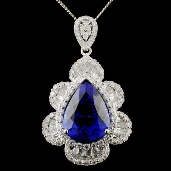 18K White Gold 12.07ct Tanzanite & 2.56ctw Diamond