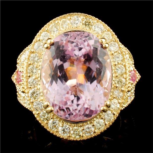 14K Gold 15.88ct Kunzite & 1.86ctw Diamond Ring