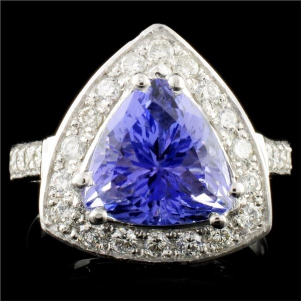 14K Gold 4.42ct Tanzanite & 0.66ctw Diamond Ring