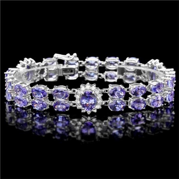 14k Gold 29.00ct Tanzanite & 1.50ct Diamond Brace
