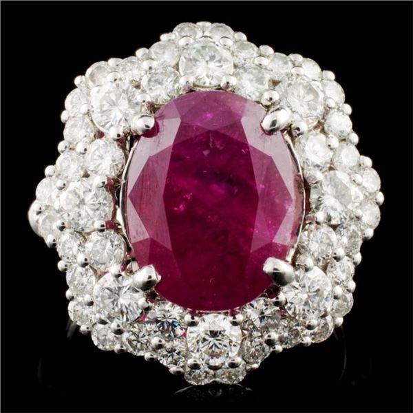 18K Gold 6.92ct Ruby & 2.05ctw Diamond Ring