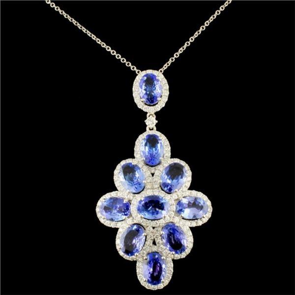 18k Gold 6.52ct Tanzanite & 1.16ct Diamond Pendant