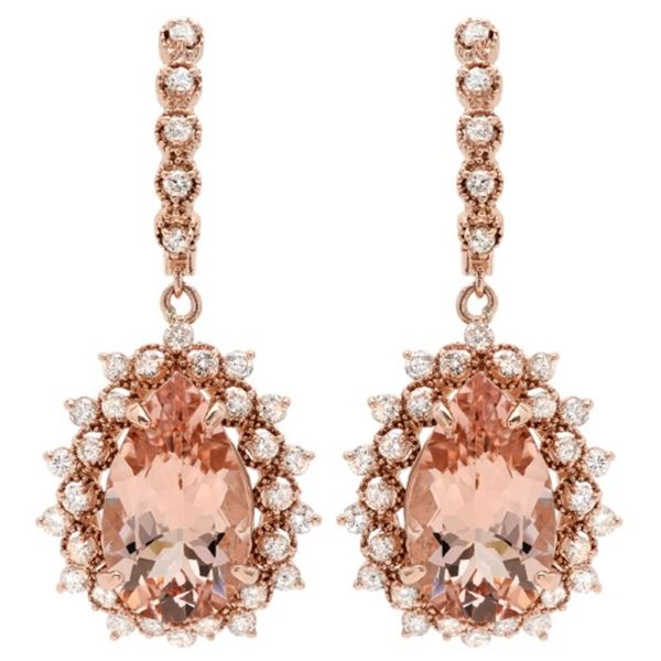 14K Gold 12.00ct Morganite & 1.90ct Diamond Earrin