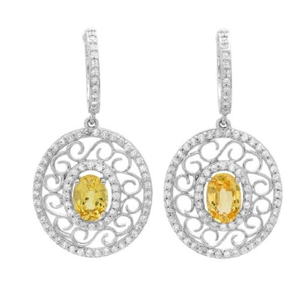 14K Gold 2.00 Yellow Sapphire & 0.80ct Diamond Ear