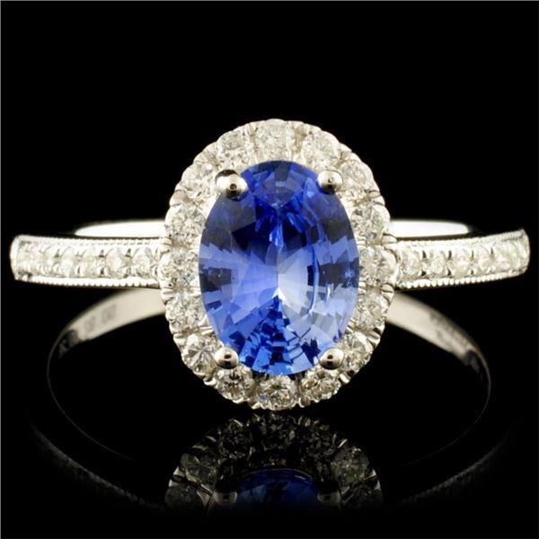 14K Gold 0.92ct Sapphire & 0.28ctw Diamond Ring