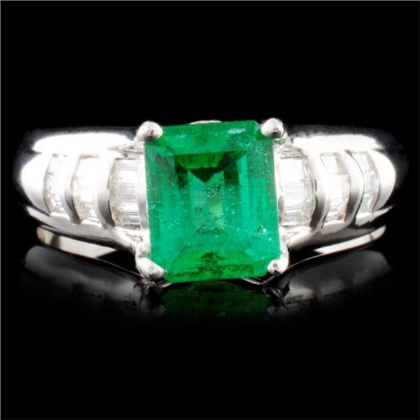 14K Gold 1.25ct Emerald & 0.50ctw Diamond Ring