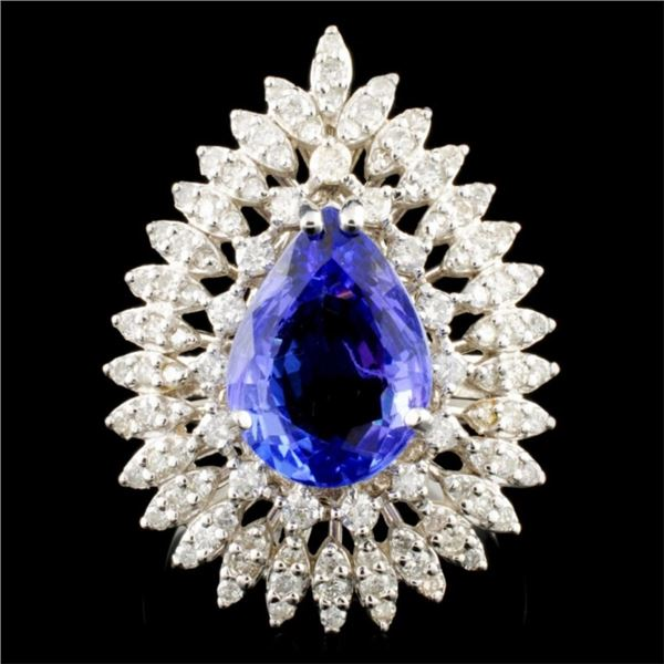 14K Gold 4.32ct Tanzanite & 1.38ctw Diamond Ring