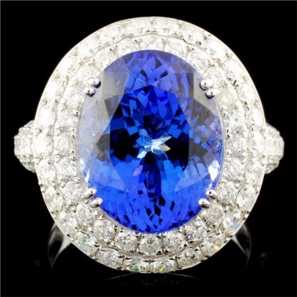 18K Gold 8.47ct Tanzanite & 2.22ctw Diamond Ring