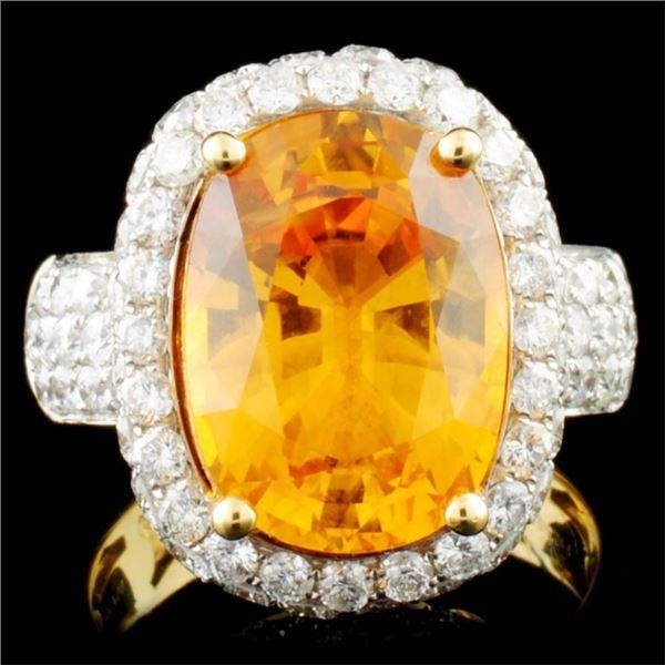 18K Gold 7.39ct Sapphire & 2.55ctw Diamond Ring