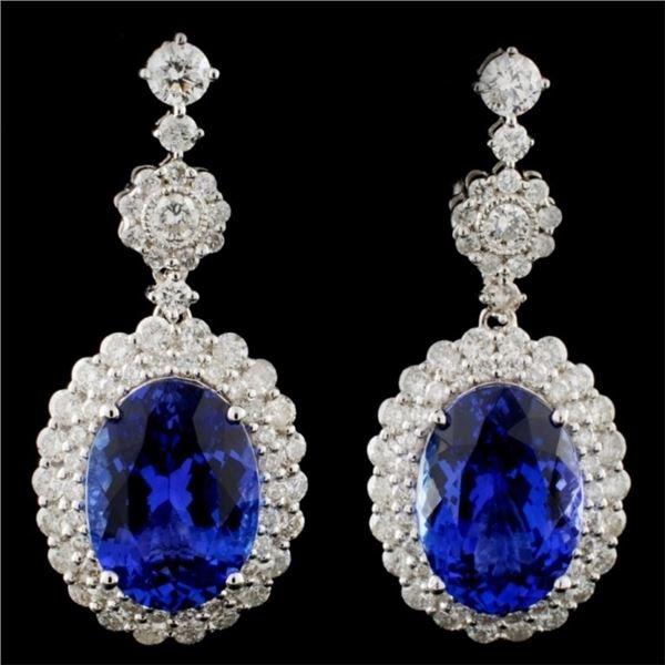 18K Gold 9.03ct Tanzanite & 2.27ct Diamond Earring