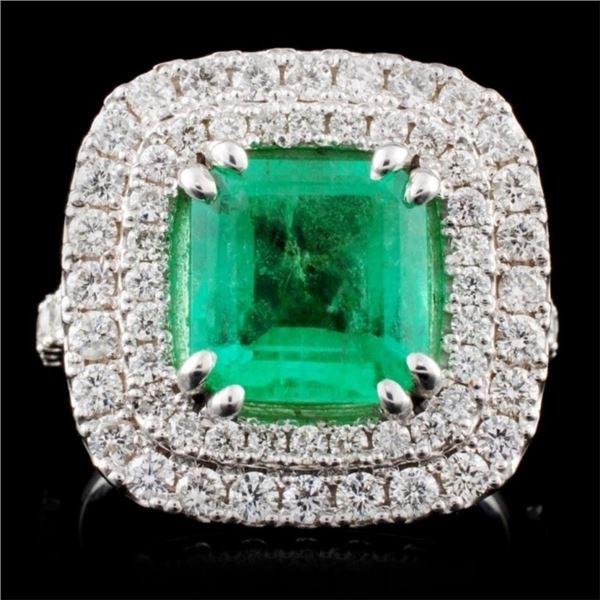 14K White Gold 2.50ct Emerald & 1.26ct Diamond Rin