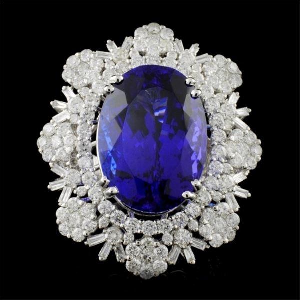 18K White Gold 23.15ct Tanzanite & 4.74ct Diamond